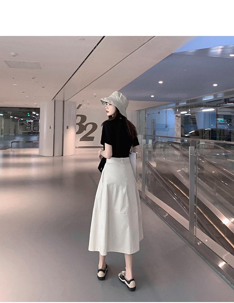 韓国 ファッション トップス Tシャツ カットソー 春 夏 カジュアル PTXJ512  アシンメトリー リボン 切替 プルオーバー オルチャン シンプル 定番 セレカジの写真4枚目