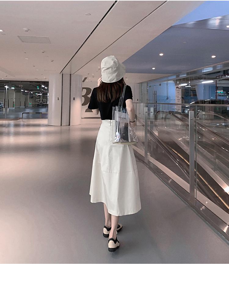 韓国 ファッション トップス Tシャツ カットソー 春 夏 カジュアル PTXJ512  アシンメトリー リボン 切替 プルオーバー オルチャン シンプル 定番 セレカジの写真5枚目