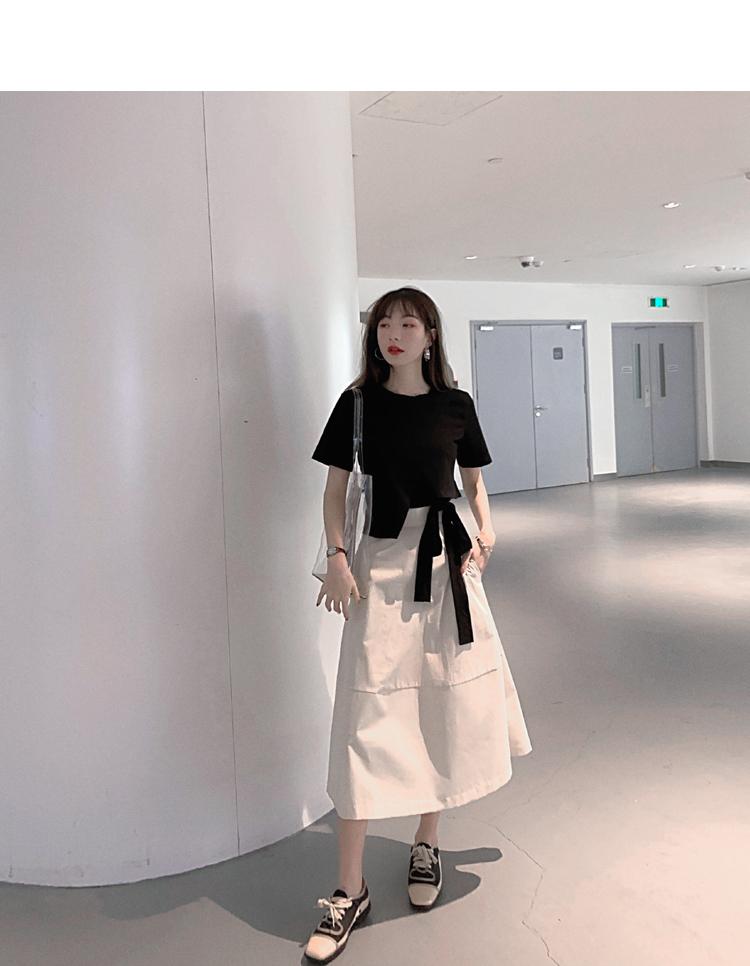 韓国 ファッション トップス Tシャツ カットソー 春 夏 カジュアル PTXJ512  アシンメトリー リボン 切替 プルオーバー オルチャン シンプル 定番 セレカジの写真6枚目