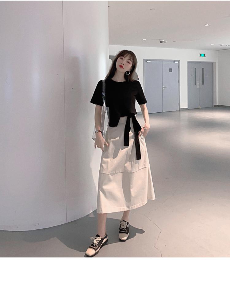 韓国 ファッション トップス Tシャツ カットソー 春 夏 カジュアル PTXJ512  アシンメトリー リボン 切替 プルオーバー オルチャン シンプル 定番 セレカジの写真7枚目