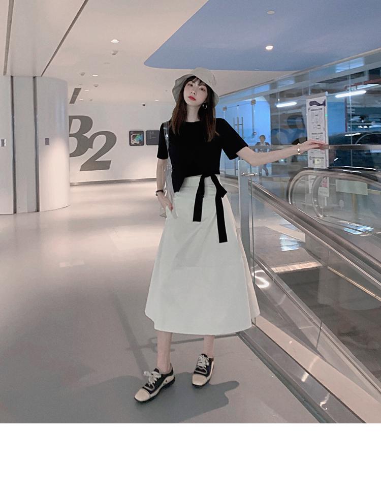 韓国 ファッション トップス Tシャツ カットソー 春 夏 カジュアル PTXJ512  アシンメトリー リボン 切替 プルオーバー オルチャン シンプル 定番 セレカジの写真8枚目