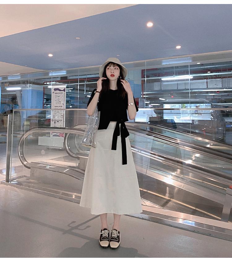 韓国 ファッション トップス Tシャツ カットソー 春 夏 カジュアル PTXJ512  アシンメトリー リボン 切替 プルオーバー オルチャン シンプル 定番 セレカジの写真9枚目