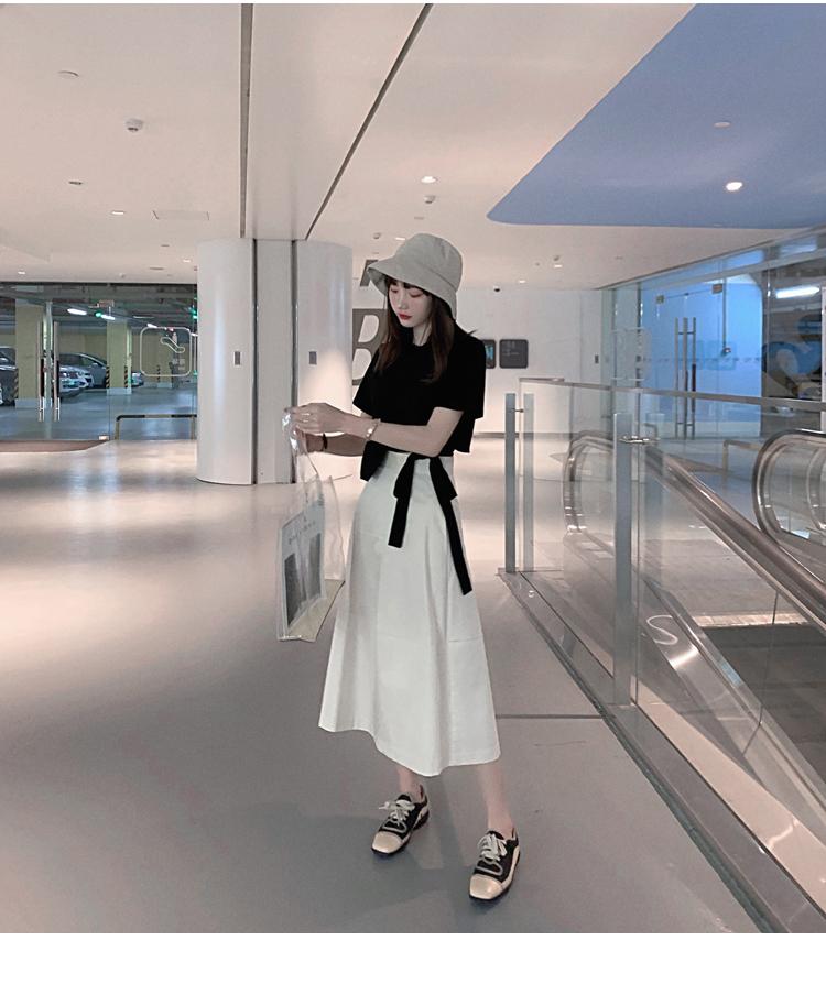 韓国 ファッション トップス Tシャツ カットソー 春 夏 カジュアル PTXJ512  アシンメトリー リボン 切替 プルオーバー オルチャン シンプル 定番 セレカジの写真10枚目