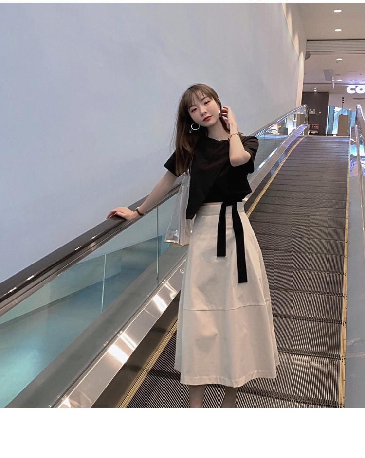 韓国 ファッション トップス Tシャツ カットソー 春 夏 カジュアル PTXJ512  アシンメトリー リボン 切替 プルオーバー オルチャン シンプル 定番 セレカジの写真13枚目