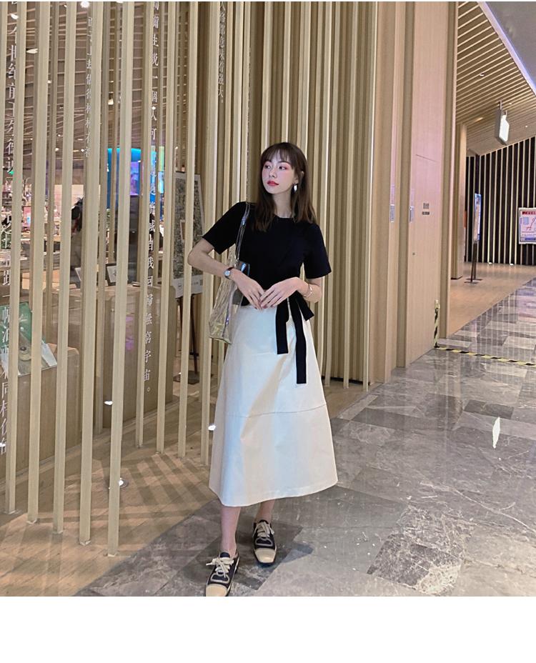 韓国 ファッション トップス Tシャツ カットソー 春 夏 カジュアル PTXJ512  アシンメトリー リボン 切替 プルオーバー オルチャン シンプル 定番 セレカジの写真14枚目