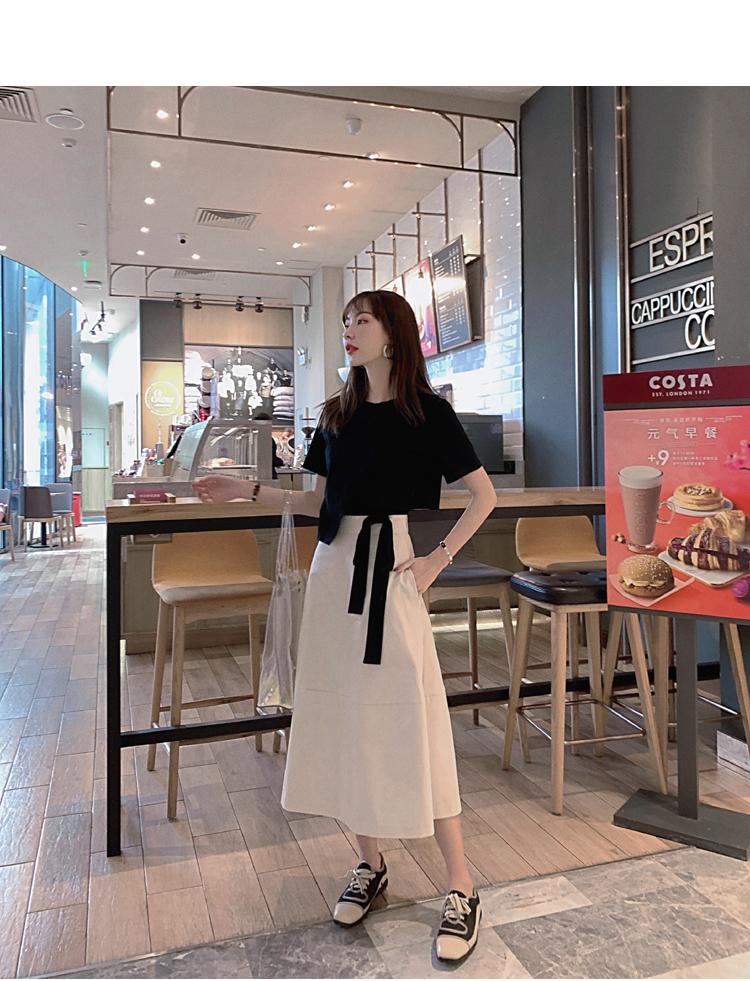 韓国 ファッション トップス Tシャツ カットソー 春 夏 カジュアル PTXJ512  アシンメトリー リボン 切替 プルオーバー オルチャン シンプル 定番 セレカジの写真15枚目