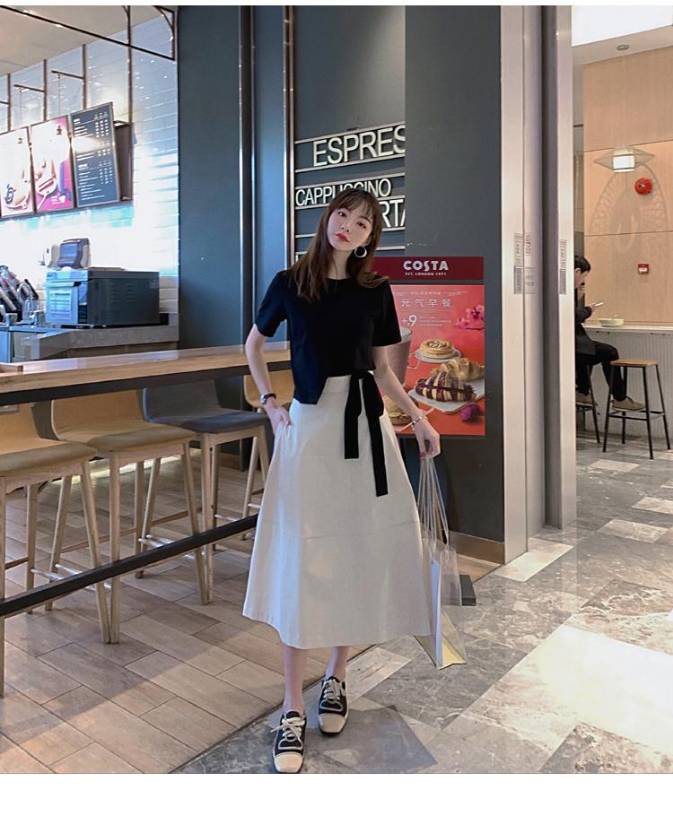 韓国 ファッション トップス Tシャツ カットソー 春 夏 カジュアル PTXJ512  アシンメトリー リボン 切替 プルオーバー オルチャン シンプル 定番 セレカジの写真16枚目