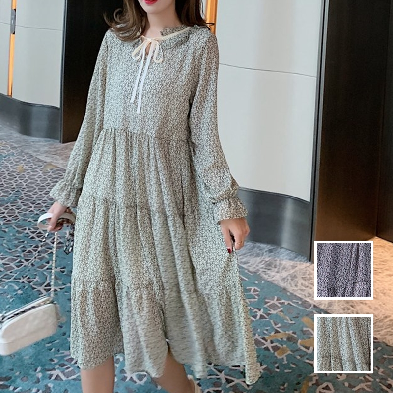韓国 ファッション ワンピース 春 夏 秋 カジュアル PTXJ531  リボン ティペット風 ティアード シアー オルチャン シンプル 定番 セレカジの写真1枚目