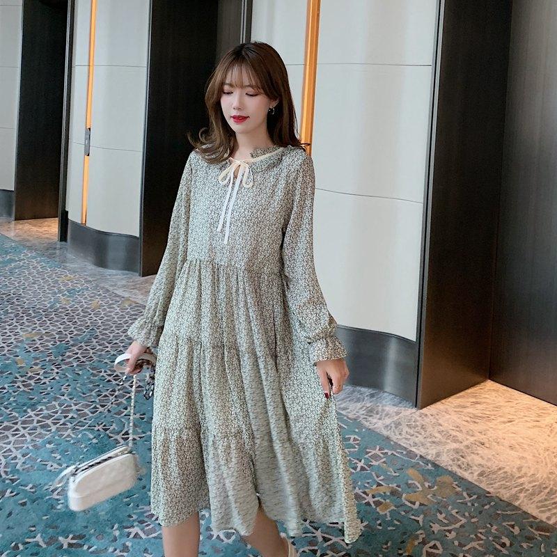 韓国 ファッション ワンピース 春 夏 秋 カジュアル PTXJ531  リボン ティペット風 ティアード シアー オルチャン シンプル 定番 セレカジの写真4枚目