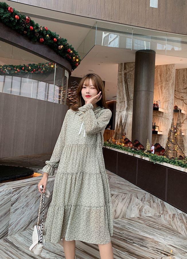 韓国 ファッション ワンピース 春 夏 秋 カジュアル PTXJ531  リボン ティペット風 ティアード シアー オルチャン シンプル 定番 セレカジの写真5枚目