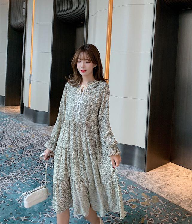 韓国 ファッション ワンピース 春 夏 秋 カジュアル PTXJ531  リボン ティペット風 ティアード シアー オルチャン シンプル 定番 セレカジの写真6枚目