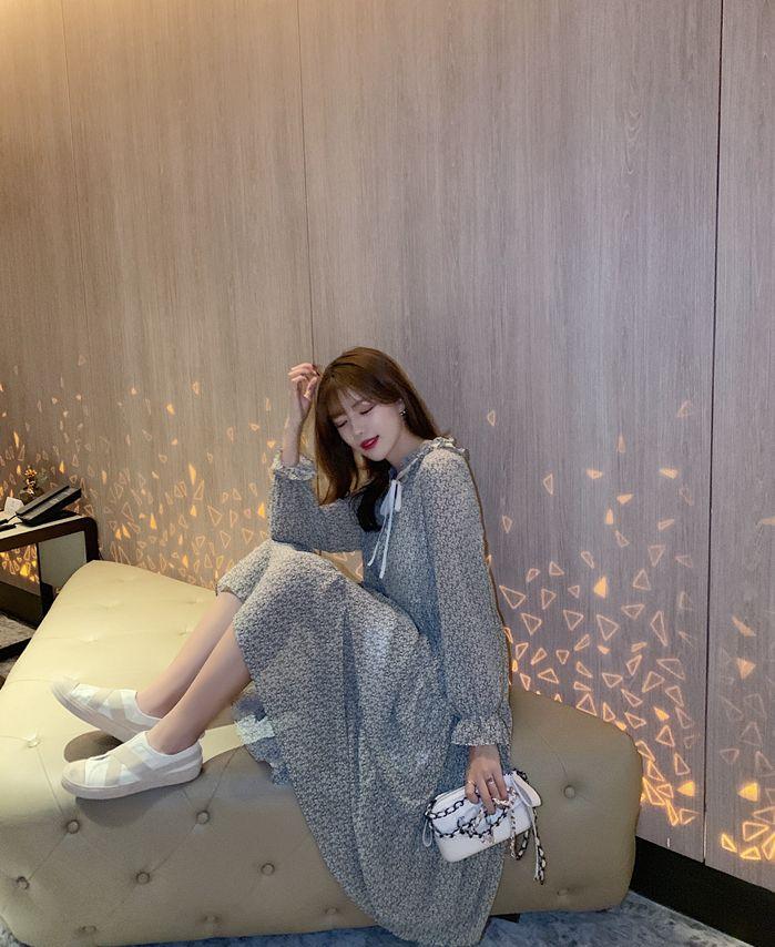 韓国 ファッション ワンピース 春 夏 秋 カジュアル PTXJ531  リボン ティペット風 ティアード シアー オルチャン シンプル 定番 セレカジの写真8枚目