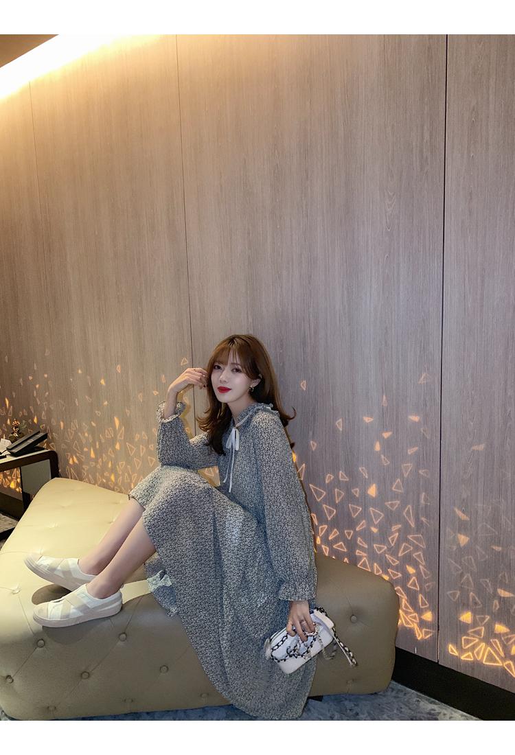 韓国 ファッション ワンピース 春 夏 秋 カジュアル PTXJ531  リボン ティペット風 ティアード シアー オルチャン シンプル 定番 セレカジの写真14枚目