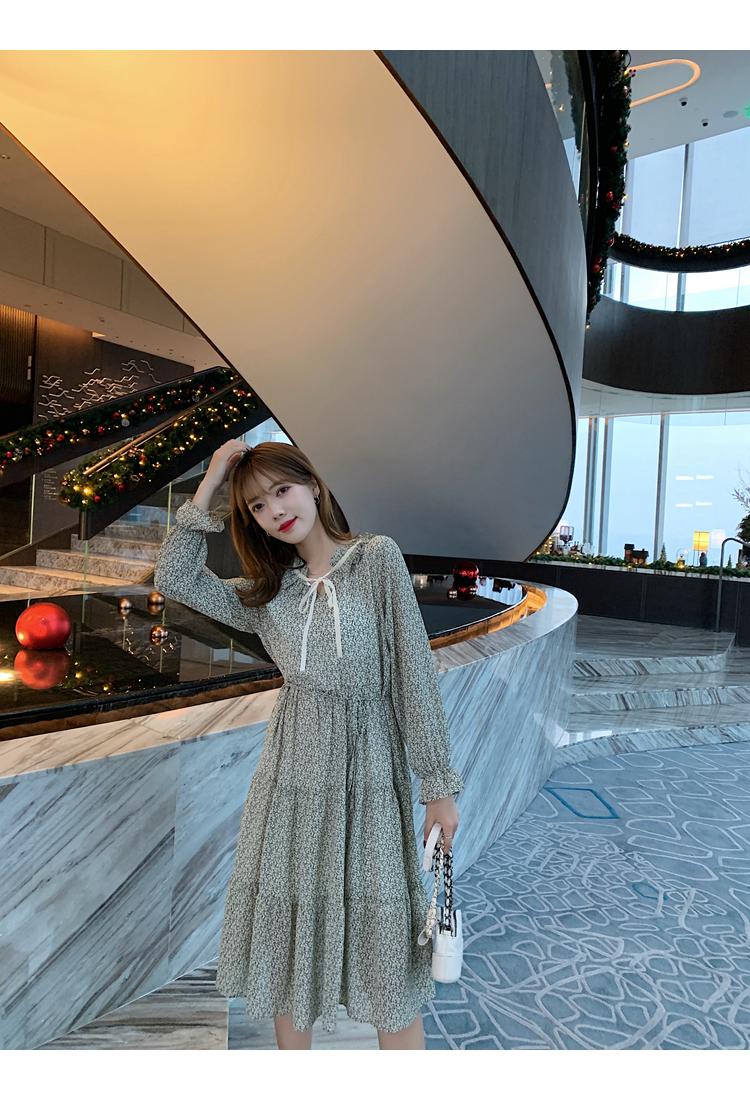 韓国 ファッション ワンピース 春 夏 秋 カジュアル PTXJ531  リボン ティペット風 ティアード シアー オルチャン シンプル 定番 セレカジの写真16枚目