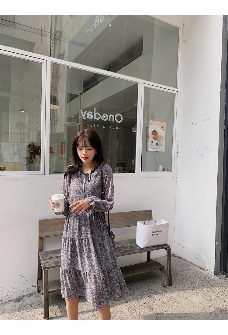 韓国 ファッション ワンピース 春 夏 秋 カジュアル PTXJ531  リボン ティペット風 ティアード シアー オルチャン シンプル 定番 セレカジの写真17枚目