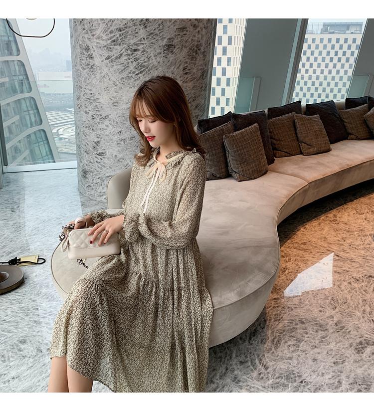 韓国 ファッション ワンピース 春 夏 秋 カジュアル PTXJ531  リボン ティペット風 ティアード シアー オルチャン シンプル 定番 セレカジの写真20枚目