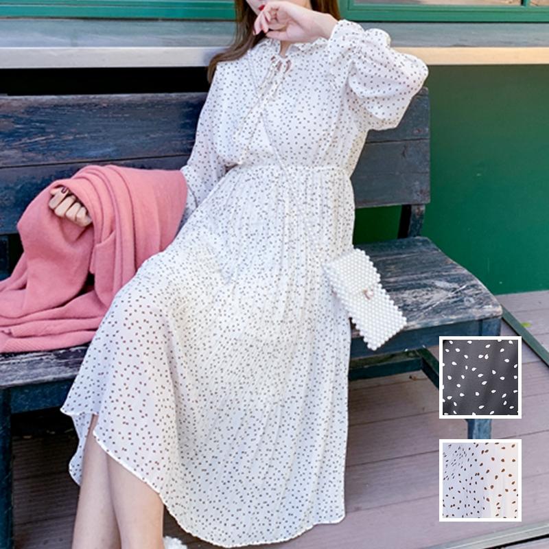 韓国 ファッション ワンピース 春 夏 秋 カジュアル PTXJ534  シアー シフォン スタンドカラー プリーツ オルチャン シンプル 定番 セレカジの写真1枚目