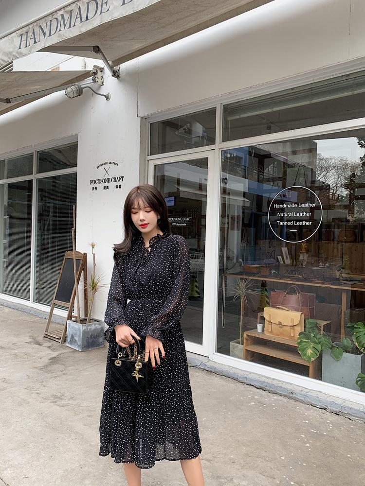 韓国 ファッション ワンピース 春 夏 秋 カジュアル PTXJ534  シアー シフォン スタンドカラー プリーツ オルチャン シンプル 定番 セレカジの写真7枚目