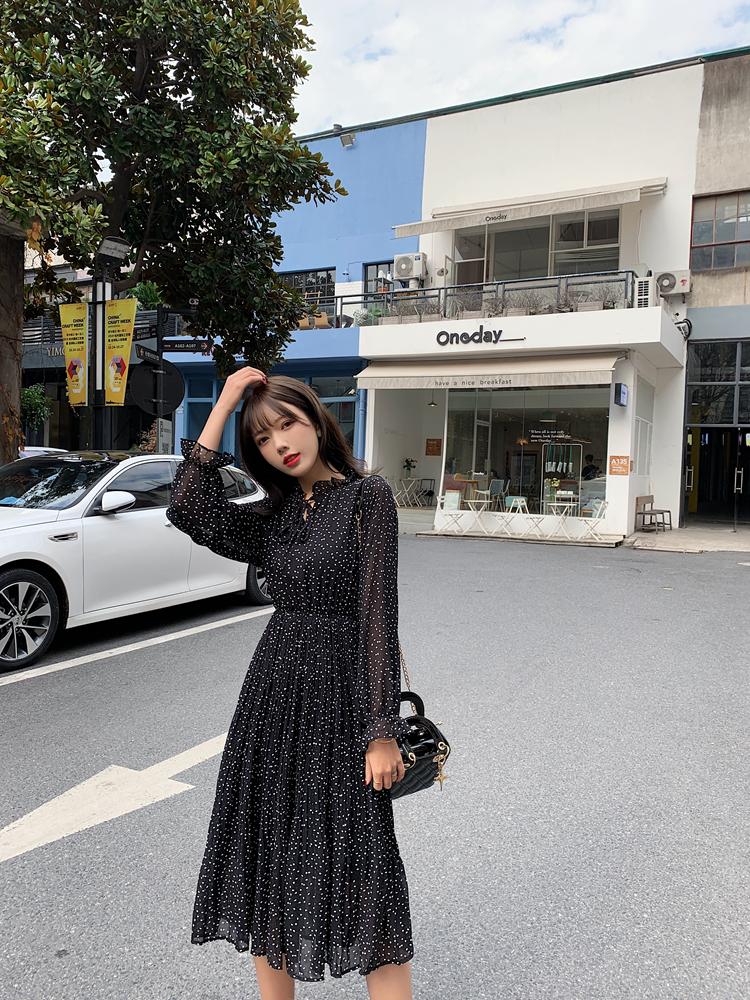 韓国 ファッション ワンピース 春 夏 秋 カジュアル PTXJ534  シアー シフォン スタンドカラー プリーツ オルチャン シンプル 定番 セレカジの写真9枚目