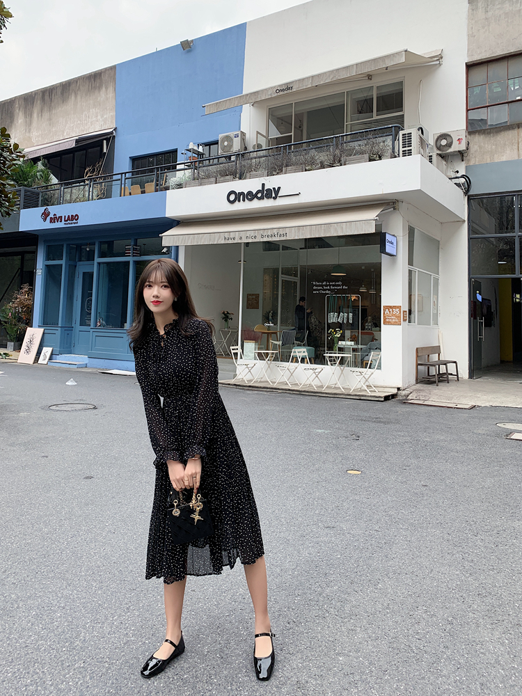 韓国 ファッション ワンピース 春 夏 秋 カジュアル PTXJ534  シアー シフォン スタンドカラー プリーツ オルチャン シンプル 定番 セレカジの写真10枚目