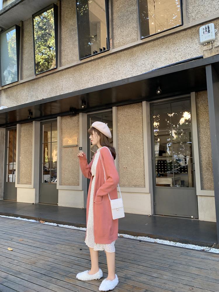 韓国 ファッション ワンピース 春 夏 秋 カジュアル PTXJ534  シアー シフォン スタンドカラー プリーツ オルチャン シンプル 定番 セレカジの写真15枚目