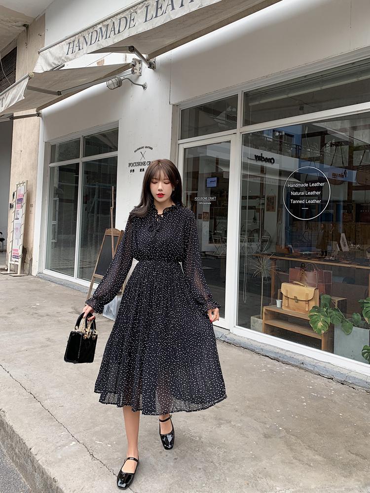 韓国 ファッション ワンピース 春 夏 秋 カジュアル PTXJ534  シアー シフォン スタンドカラー プリーツ オルチャン シンプル 定番 セレカジの写真18枚目