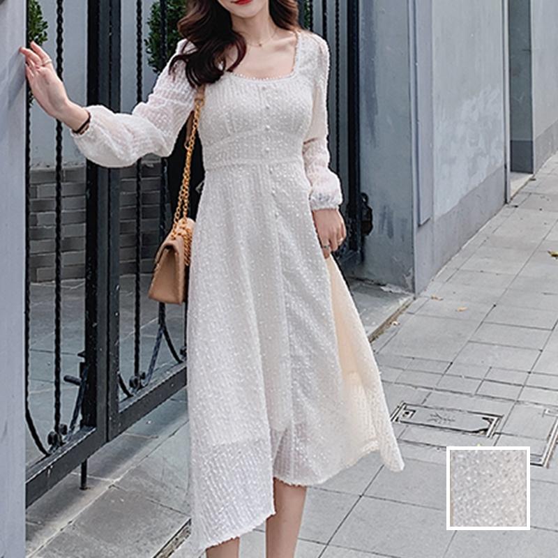 韓国 ファッション ワンピース 春 夏 秋 カジュアル PTXJ544  チェック シアー デコルテ見せ Aライン オルチャン シンプル 定番 セレカジの写真1枚目