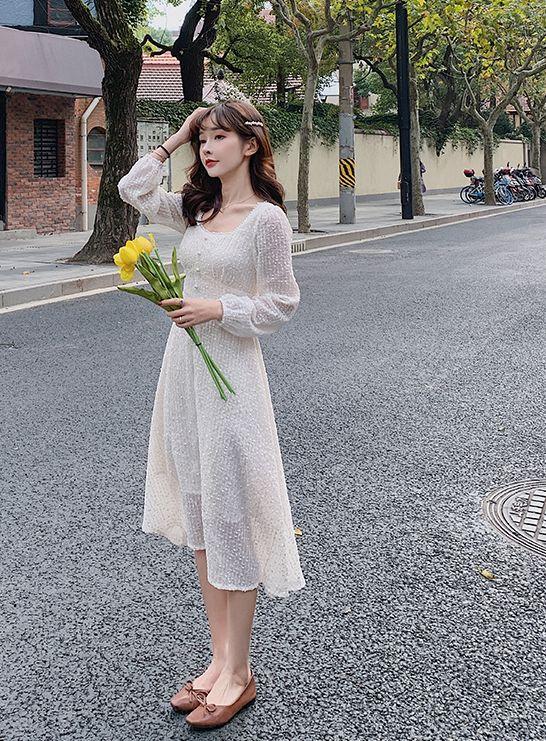 韓国 ファッション ワンピース 春 夏 秋 カジュアル PTXJ544  チェック シアー デコルテ見せ Aライン オルチャン シンプル 定番 セレカジの写真2枚目