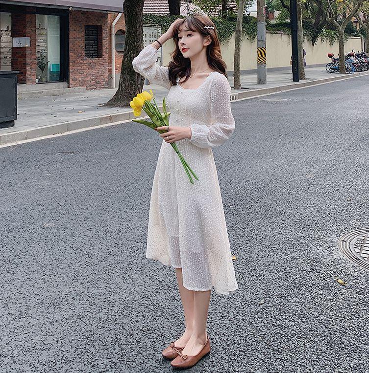 韓国 ファッション ワンピース 春 夏 秋 カジュアル PTXJ544  チェック シアー デコルテ見せ Aライン オルチャン シンプル 定番 セレカジの写真3枚目