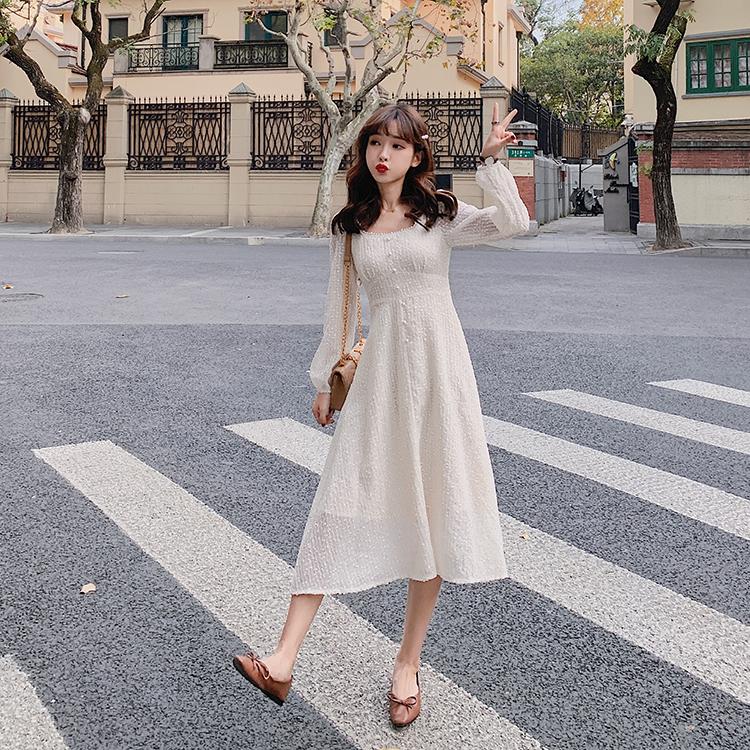 韓国 ファッション ワンピース 春 夏 秋 カジュアル PTXJ544  チェック シアー デコルテ見せ Aライン オルチャン シンプル 定番 セレカジの写真5枚目