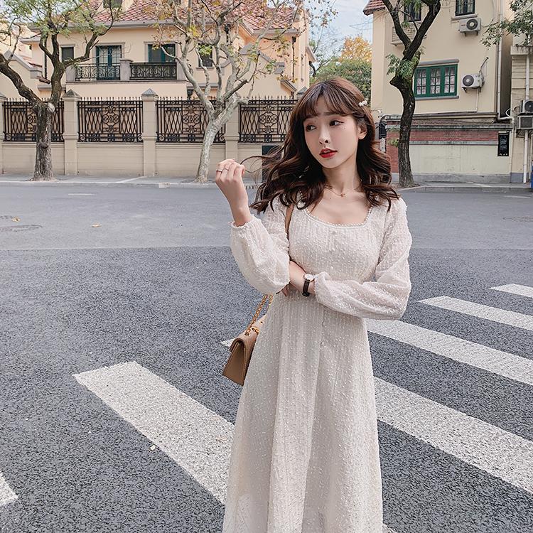 韓国 ファッション ワンピース 春 夏 秋 カジュアル PTXJ544  チェック シアー デコルテ見せ Aライン オルチャン シンプル 定番 セレカジの写真6枚目