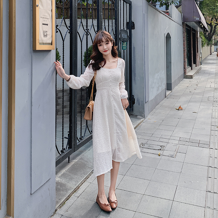 韓国 ファッション ワンピース 春 夏 秋 カジュアル PTXJ544  チェック シアー デコルテ見せ Aライン オルチャン シンプル 定番 セレカジの写真7枚目