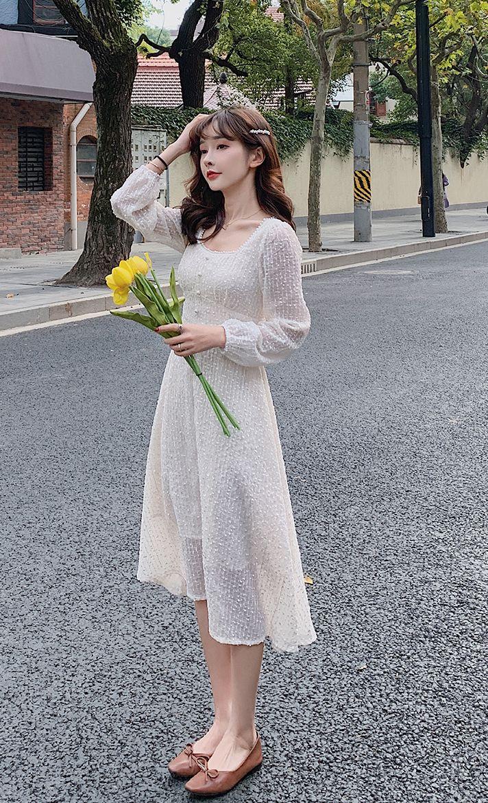 韓国 ファッション ワンピース 春 夏 秋 カジュアル PTXJ544  チェック シアー デコルテ見せ Aライン オルチャン シンプル 定番 セレカジの写真8枚目