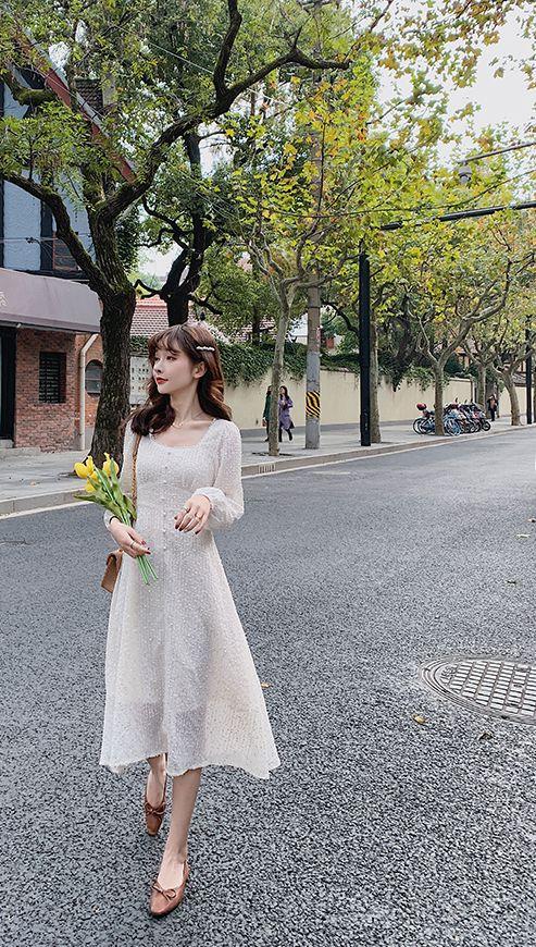 韓国 ファッション ワンピース 春 夏 秋 カジュアル PTXJ544  チェック シアー デコルテ見せ Aライン オルチャン シンプル 定番 セレカジの写真9枚目