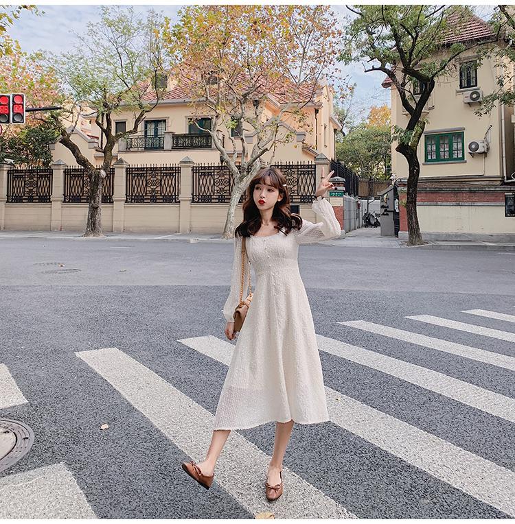 韓国 ファッション ワンピース 春 夏 秋 カジュアル PTXJ544  チェック シアー デコルテ見せ Aライン オルチャン シンプル 定番 セレカジの写真12枚目