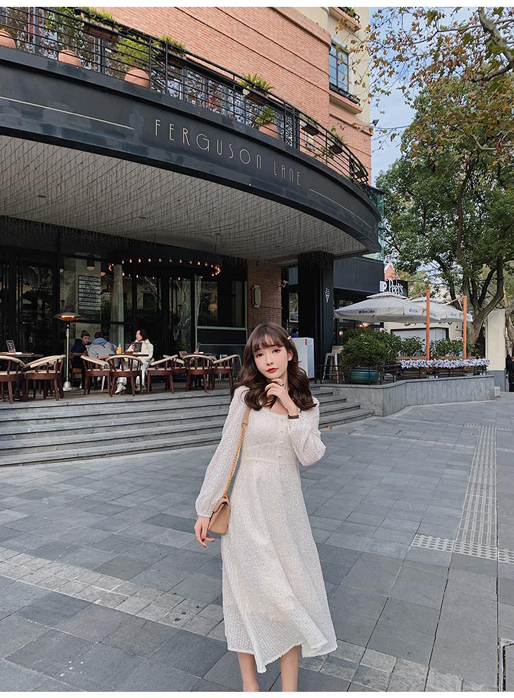 韓国 ファッション ワンピース 春 夏 秋 カジュアル PTXJ544  チェック シアー デコルテ見せ Aライン オルチャン シンプル 定番 セレカジの写真15枚目