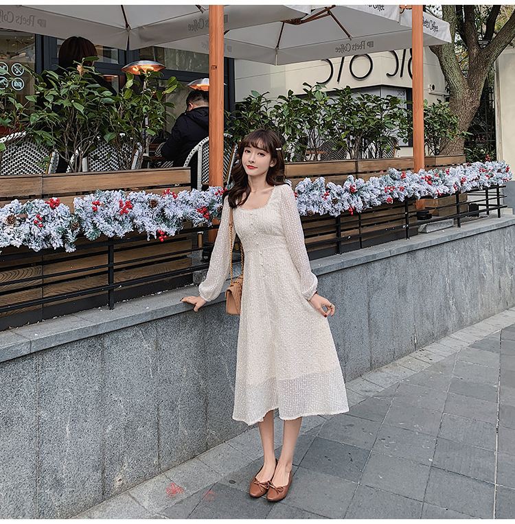 韓国 ファッション ワンピース 春 夏 秋 カジュアル PTXJ544  チェック シアー デコルテ見せ Aライン オルチャン シンプル 定番 セレカジの写真16枚目