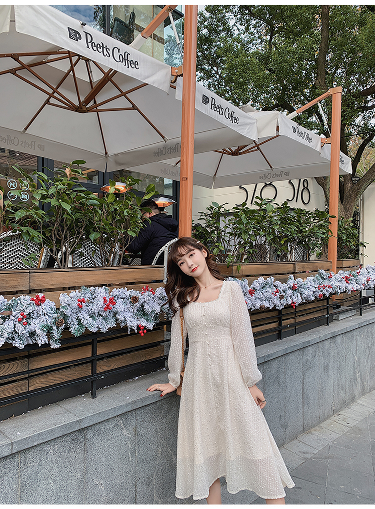 韓国 ファッション ワンピース 春 夏 秋 カジュアル PTXJ544  チェック シアー デコルテ見せ Aライン オルチャン シンプル 定番 セレカジの写真17枚目