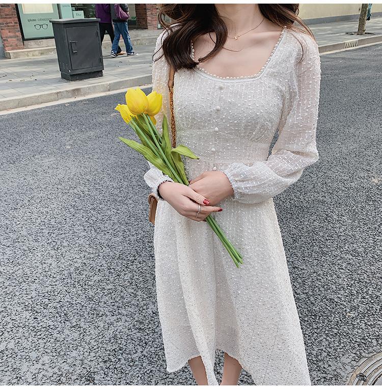 韓国 ファッション ワンピース 春 夏 秋 カジュアル PTXJ544  チェック シアー デコルテ見せ Aライン オルチャン シンプル 定番 セレカジの写真18枚目