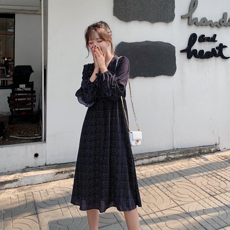 韓国 ファッション ワンピース 春 夏 秋 カジュアル PTXJ549  シアー フリル リボン ハイウエスト Aライン オルチャン シンプル 定番 セレカジの写真5枚目