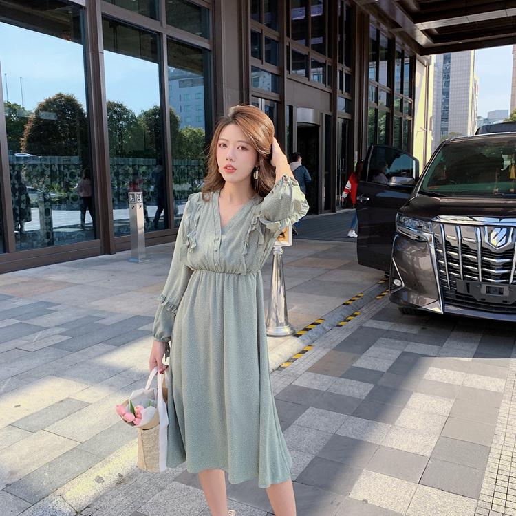 韓国 ファッション ワンピース 春 夏 秋 カジュアル PTXJ549  シアー フリル リボン ハイウエスト Aライン オルチャン シンプル 定番 セレカジの写真11枚目