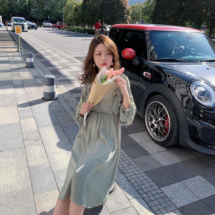 韓国 ファッション ワンピース 春 夏 秋 カジュアル PTXJ549  シアー フリル リボン ハイウエスト Aライン オルチャン シンプル 定番 セレカジの写真17枚目