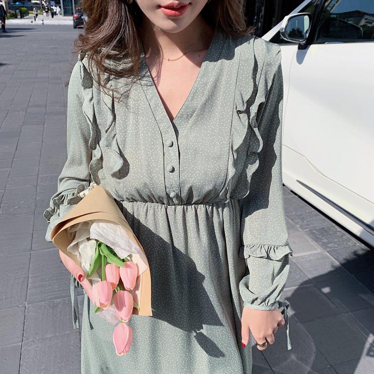 韓国 ファッション ワンピース 春 夏 秋 カジュアル PTXJ549  シアー フリル リボン ハイウエスト Aライン オルチャン シンプル 定番 セレカジの写真18枚目