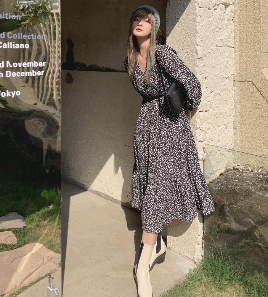 韓国 ファッション ワンピース 春 夏 秋 カジュアル PTXJ555  カシュクール バイカラー ギャザー ミモレ丈 オルチャン シンプル 定番 セレカジの写真5枚目