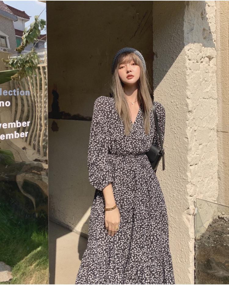 韓国 ファッション ワンピース 春 夏 秋 カジュアル PTXJ555  カシュクール バイカラー ギャザー ミモレ丈 オルチャン シンプル 定番 セレカジの写真7枚目