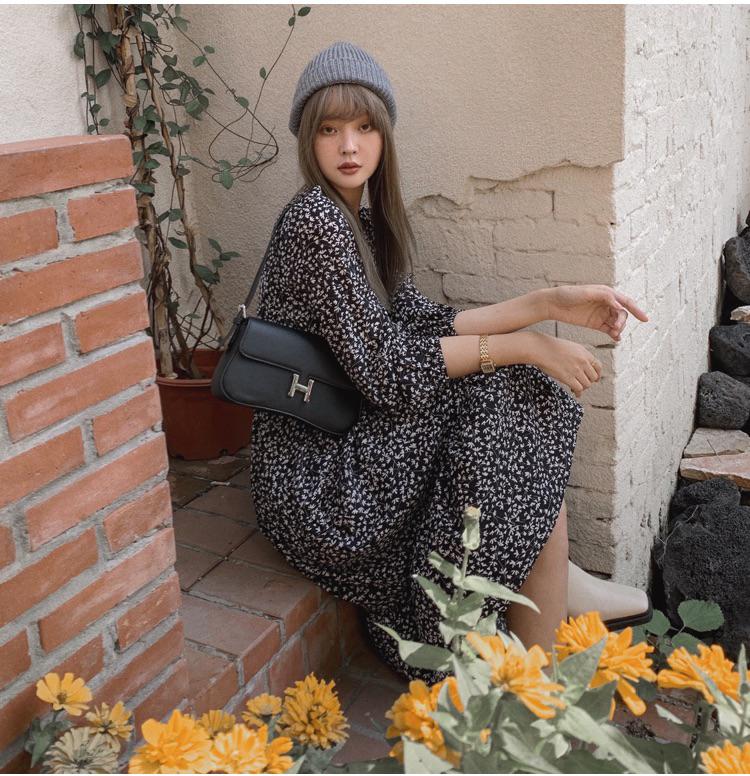 韓国 ファッション ワンピース 春 夏 秋 カジュアル PTXJ555  カシュクール バイカラー ギャザー ミモレ丈 オルチャン シンプル 定番 セレカジの写真8枚目