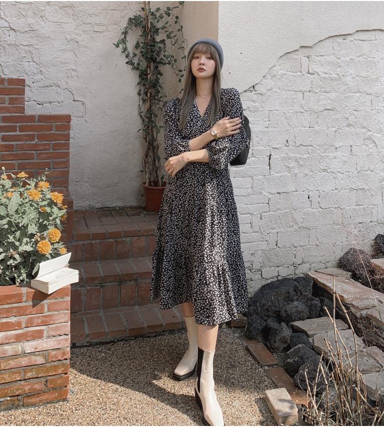 韓国 ファッション ワンピース 春 夏 秋 カジュアル PTXJ555  カシュクール バイカラー ギャザー ミモレ丈 オルチャン シンプル 定番 セレカジの写真11枚目