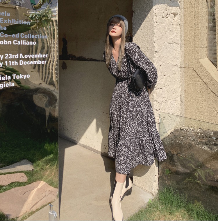 韓国 ファッション ワンピース 春 夏 秋 カジュアル PTXJ555  カシュクール バイカラー ギャザー ミモレ丈 オルチャン シンプル 定番 セレカジの写真12枚目
