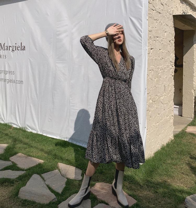 韓国 ファッション ワンピース 春 夏 秋 カジュアル PTXJ555  カシュクール バイカラー ギャザー ミモレ丈 オルチャン シンプル 定番 セレカジの写真15枚目