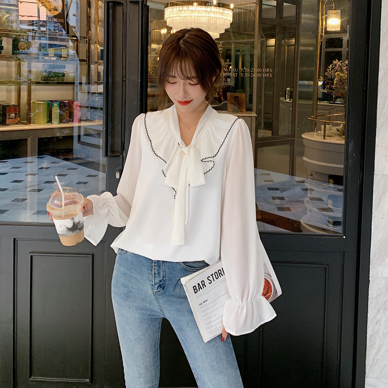 韓国 ファッション トップス ブラウス シャツ 春 夏 秋 カジュアル PTXJ558  シフォン シアー バイカラー ボウタイ 着回し オルチャン シンプル 定番 セレカジの写真4枚目